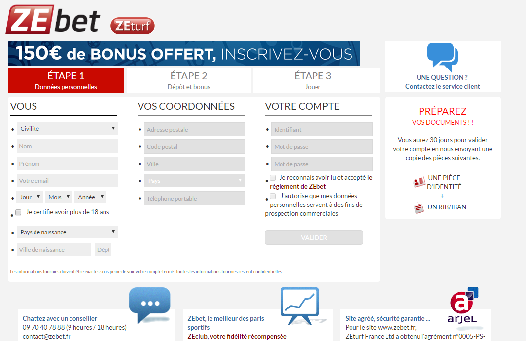 Inscription Web - Etape 1