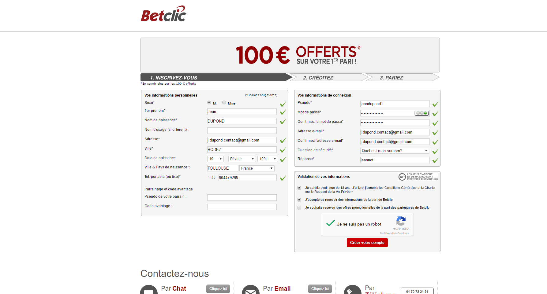 Inscription sur la version Web Betclic - Etape 2