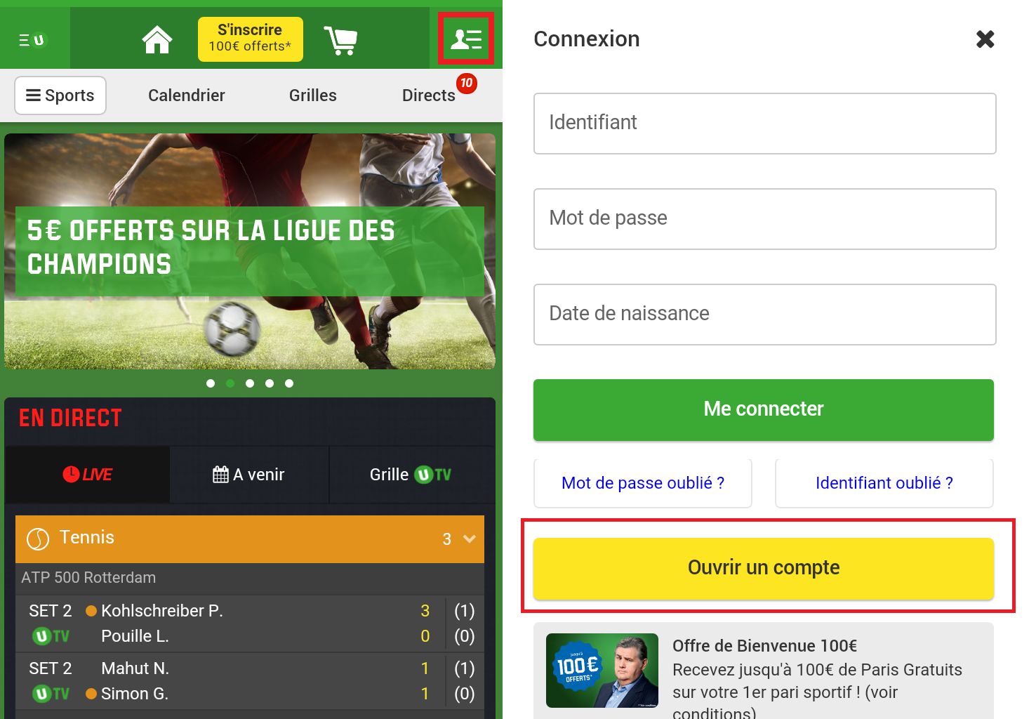 Inscription sur unibet.fr - etape 1
