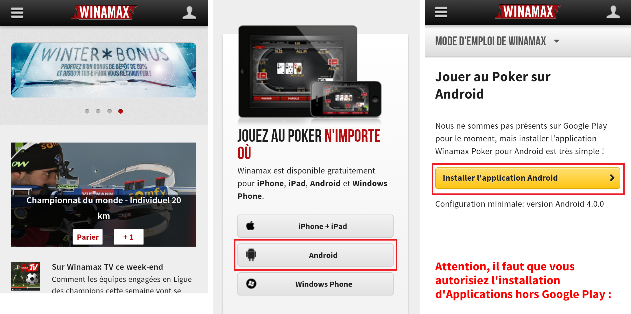 L'application winamax sur android et Iphone