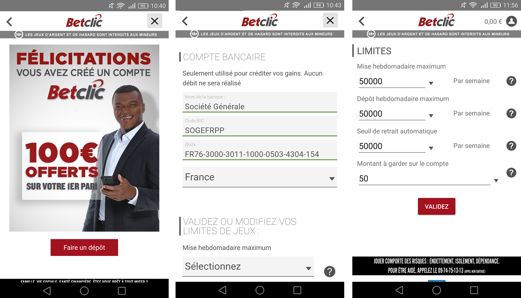 Etape 3 de l'inscription sur Betclic Mobile