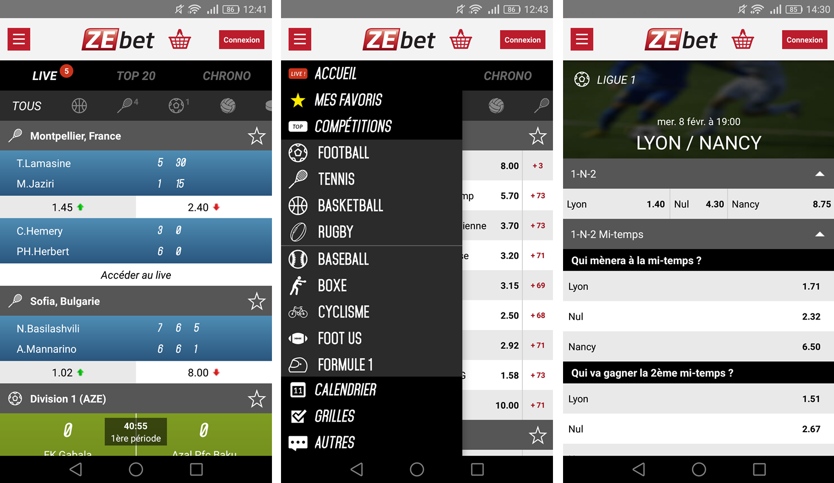 Application Zebet sur IOS
