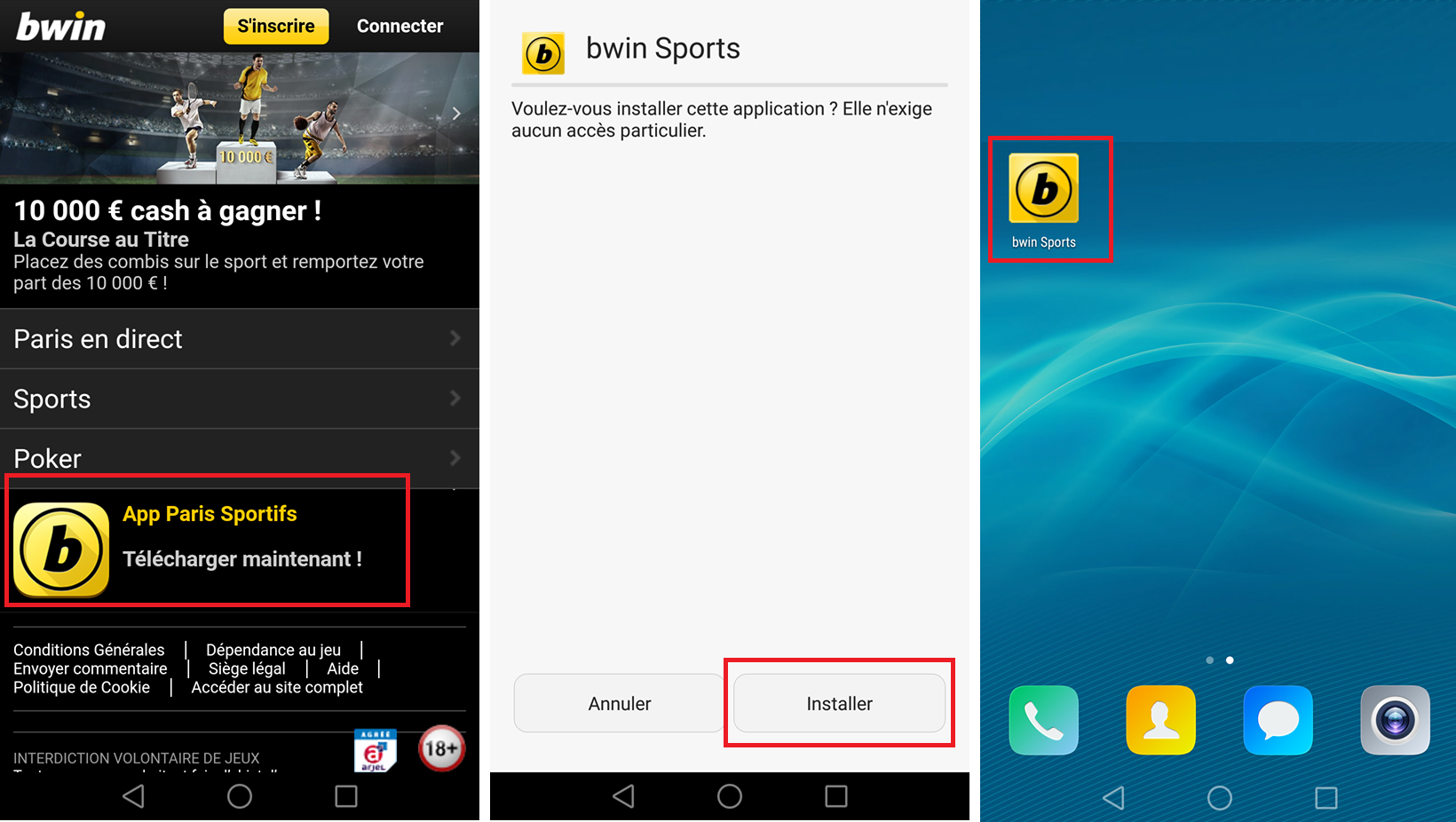 l'application Bwin Sport