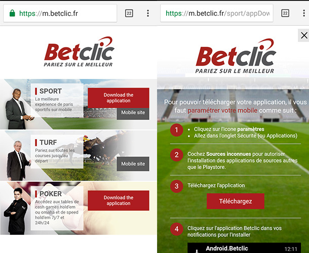 Application Betclic sur Android