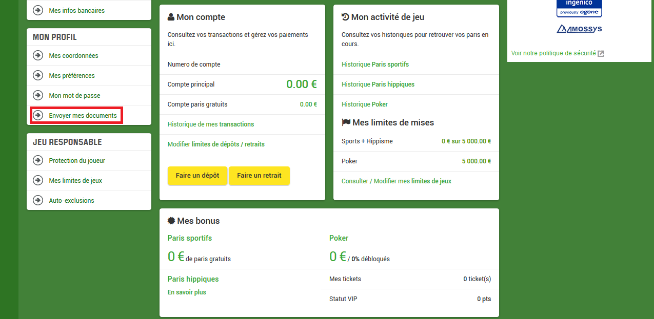 Validation des documents sur le site du bookmaker unibet