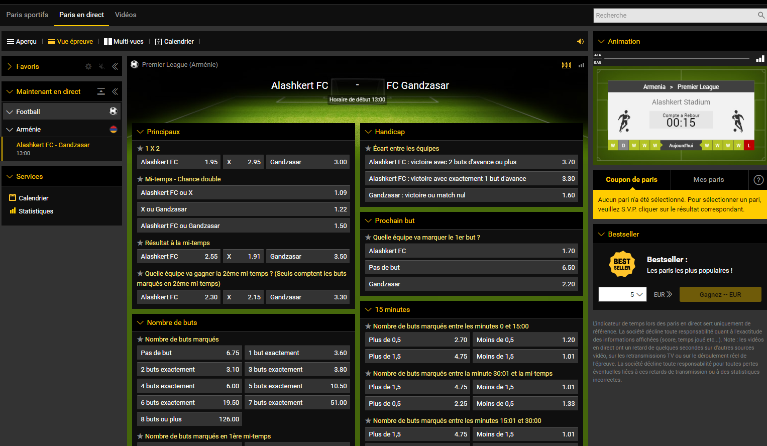 Pariez en direct sur Bwin