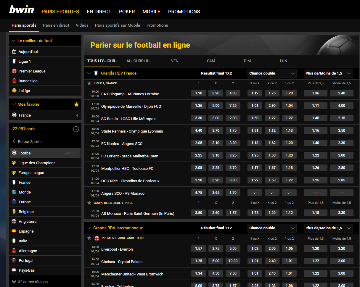 Les paris sur le football sur le site Bwin sport